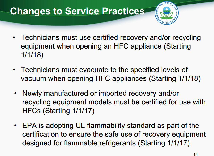 EPA Changes to Refrigerant Service Practices