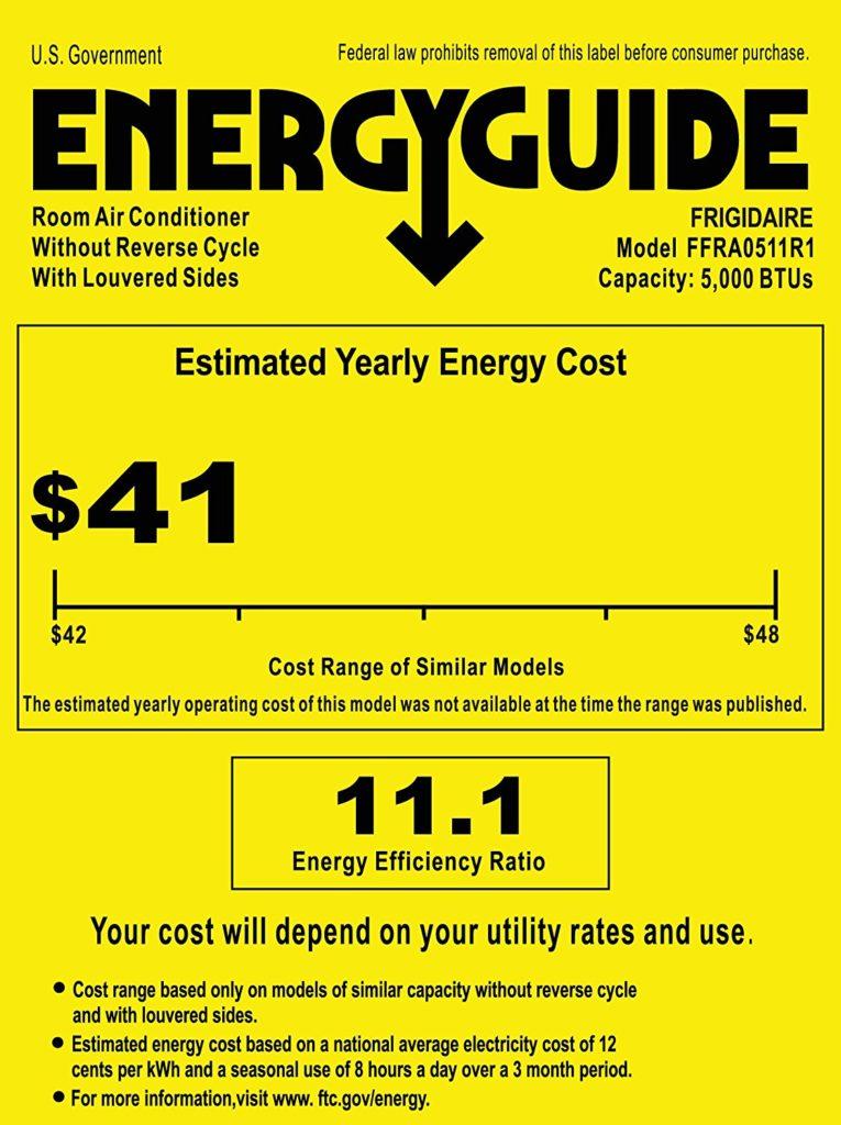 Frigidaire FFRA0511R1 5, 000 BTU Energy Guide