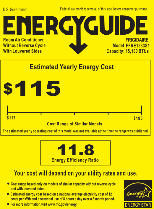 Frigidaire ffre1533s1 Energy Guide