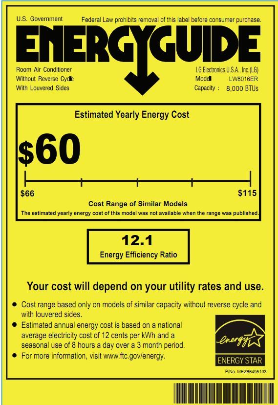 LG LW8016ER Window Unit Energy Guide