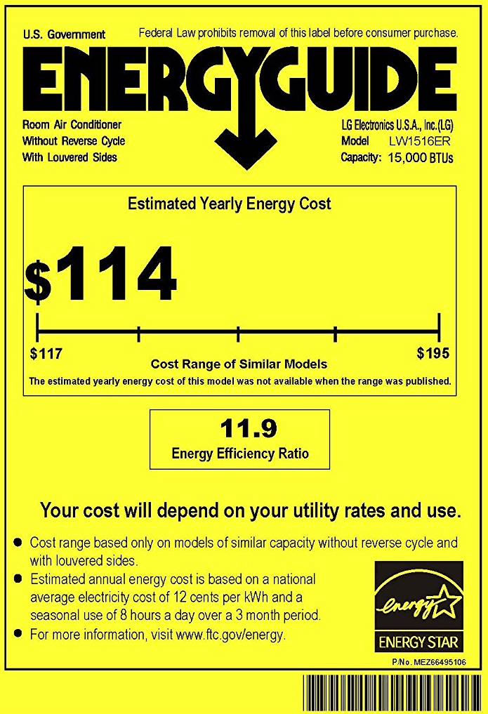 LG LW1516ER 15,000 BTU Energy Guide