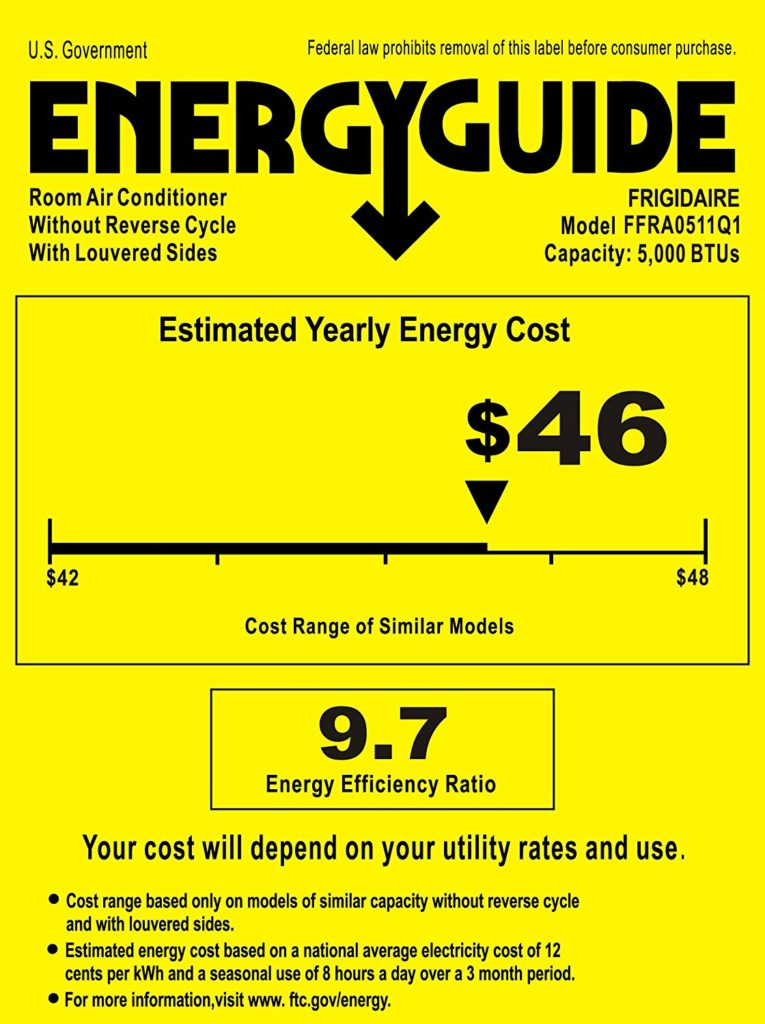 Frigidaire FFRA0511Q1 Energy Guide