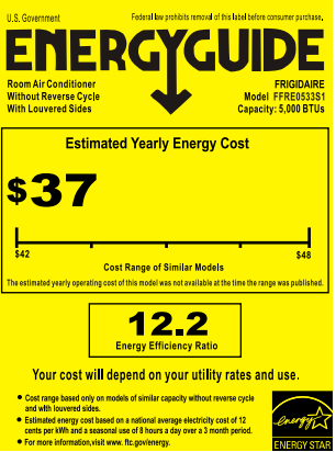 Frigidaire FFRE0533S1 Energy Guide