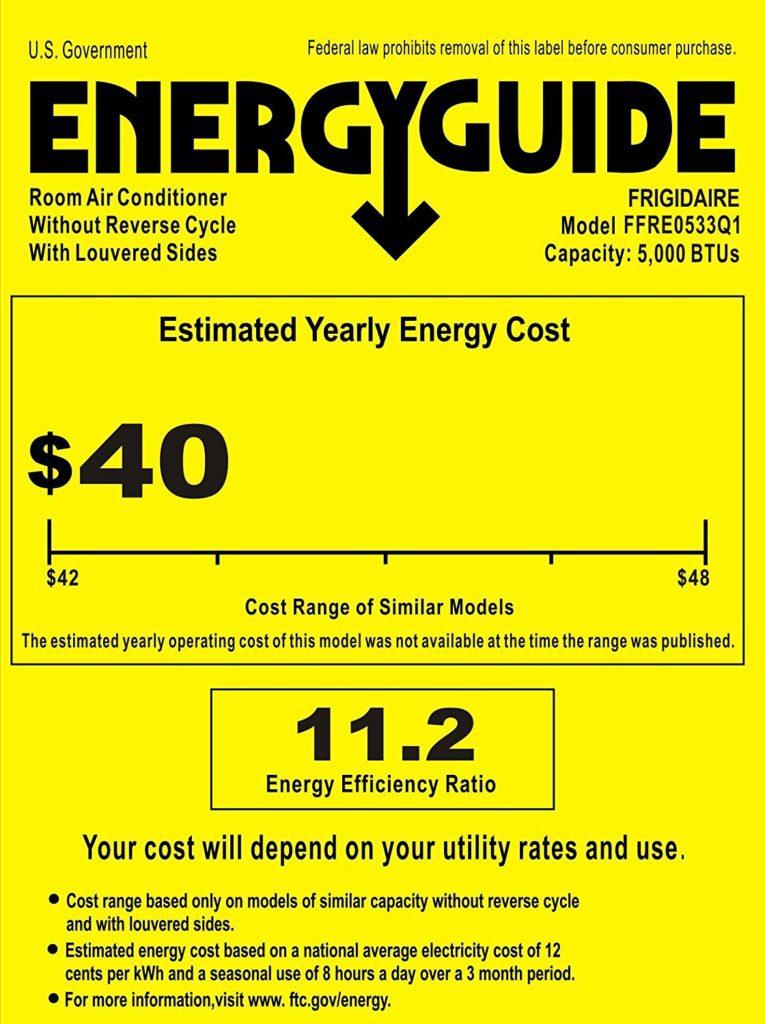 Frigidaire FFRE0533Q1 Energy Guide